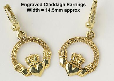 Enrgaved Claddagh Earrings