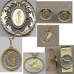 Irish coin Jewelry, Jewellery made from Irish coins from Ireland