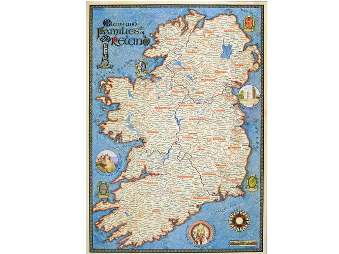 High Quality Map Of Ireland.Beautiful Irish Map Showing Ancestral Homeland Of Thousands