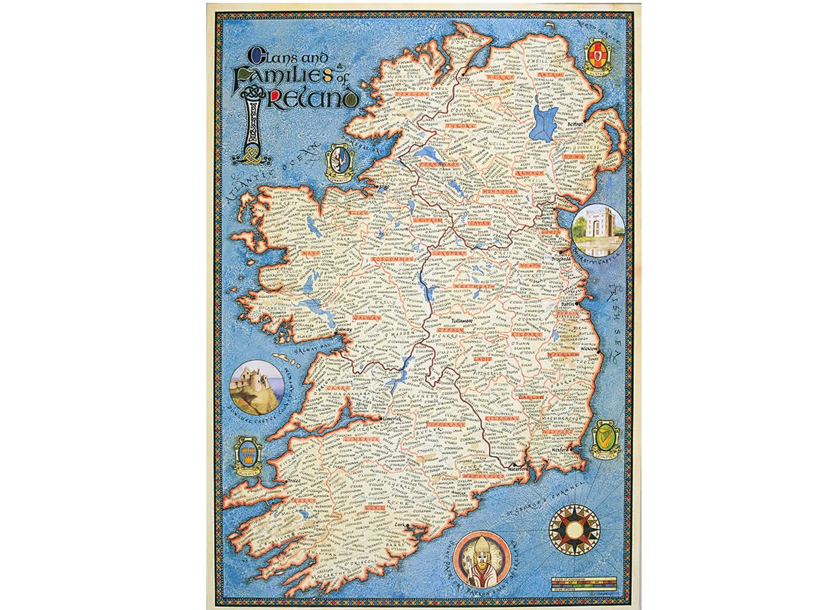 Map Of Quinn Ireland.Beautiful Irish Map Showing Ancestral Homeland Of Thousands Of Irish