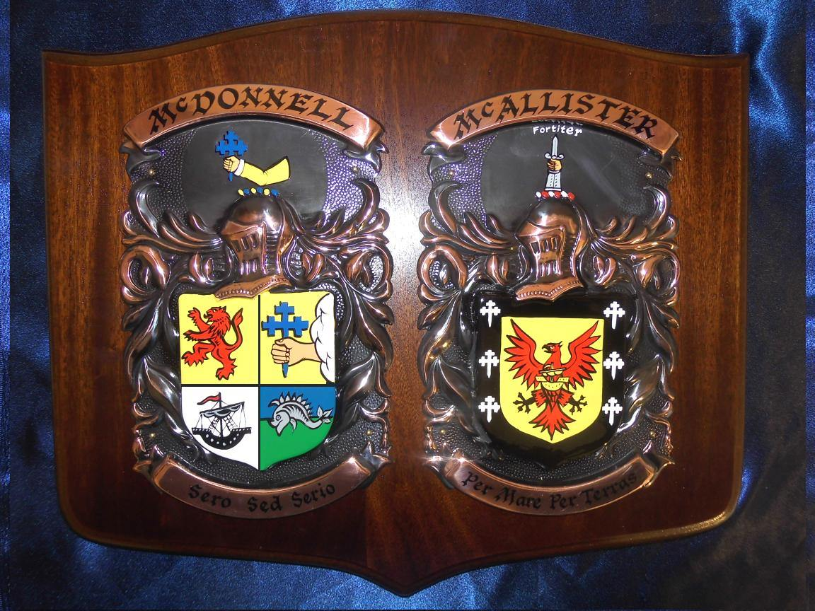 Family crest plaque with your coat of arms on the shield double family crest plaque large 1614 inch altavistaventures Gallery