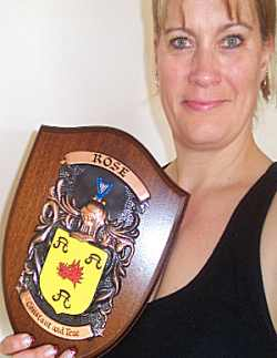 Claire with her Family Crest Plaque
