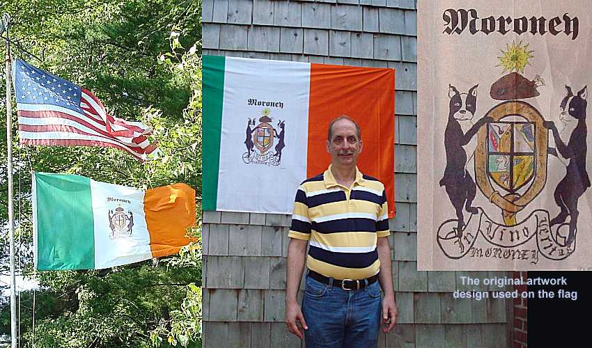 Michael Moroney with his custom-designed family crest flag